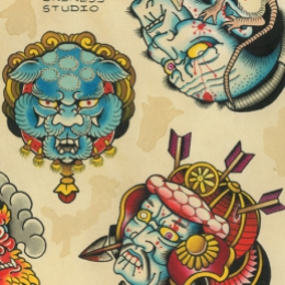 Tattoo Japanese masks flash by Vincent penning