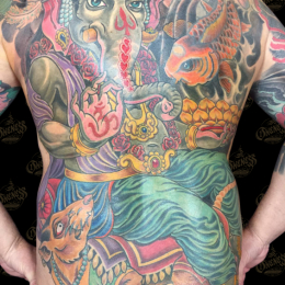 Tattoo Ganesha backpiece by Darko groenhagen