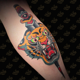 Tattoo Traditional tiger and dagger by Guests