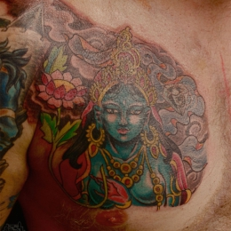Tattoo Tibetan green tara and lotus by Darko groenhagen