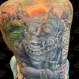 Tattoo Indonesian backpiece by Darko groenhagen