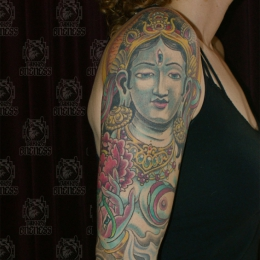 Tattoo Tibetan tara and lotus sleeve by Darko groenhagen