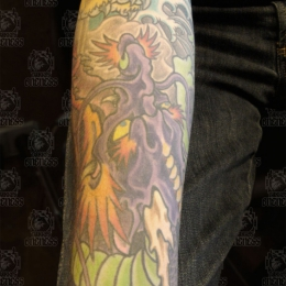 Tattoo Japanese purple dragon arm by Darko groenhagen