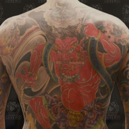 Tattoo Japanese rajin backpiece by Darko groenhagen