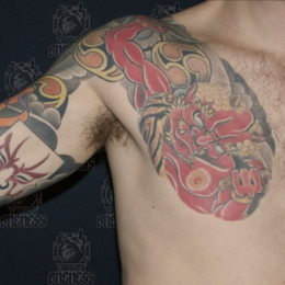 Tattoo Japanese red demon chest by Darko groenhagen