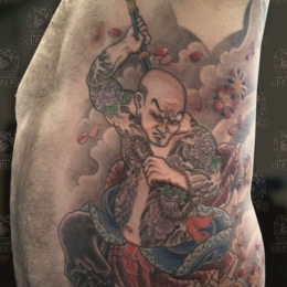 Tattoo Japanese samurai rib by Darko groenhagen