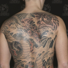 Tattoo Japanese black and grey dragon by Darko groenhagen