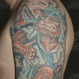 Tattoo Japanese hanuman comic by Darko groenhagen