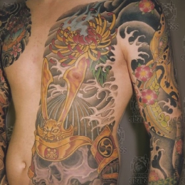 Tattoo Japanese samurai skull and peony by Darko groenhagen