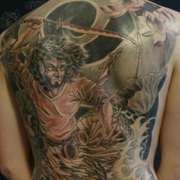 Tattoo Japanese sourcerer fighting by Darko groenhagen
