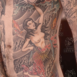Tattoo Japanese tamatoro hime goddess and octopus by Darko groenhagen