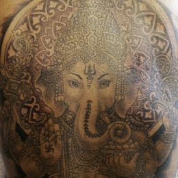Tattoo Indonesian and indian ganesha by Darko groenhagen