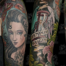 Tattoo Skulls girl with hourglass by Darko groenhagen
