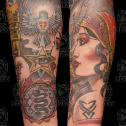 Tattoo Skulls gypsy woman by Darko groenhagen