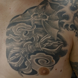 Tattoo Tibetan vajra bat by Darko groenhagen