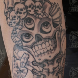 Tattoo Tibetan skull by Darko groenhagen