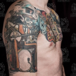 Tattoo One man band by Darko groenhagen
