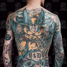 Tattoo Comic wolverine backpiece by Darko groenhagen