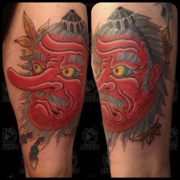 Tattoo Japanese mask by Sjoerd elstak
