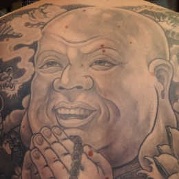 Tattoo Black and grey buddha by Darko groenhagen
