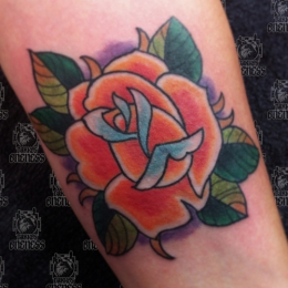 Tattoo Colour rose by Vincent penning