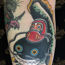 Tattoo Daruma fish by Sjoerd elstak