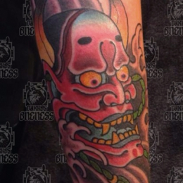 Tattoo Japanese mask by Vincent penning